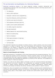 Technical Engineer Job Description The Job Description And Qualifications Of A Mechanical Engineer
