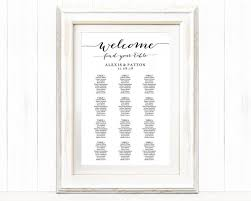 Poster Seating Charts For Wedding Receptions Welcome Wedding Seating Chart Template In Four Sizes