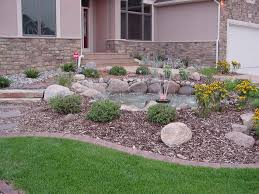 interior rock landscaping ideas. Interior : Stone Borders Stair Beside Terrace Green Plants Wood Fence Step Umbrella Shade Rock Landscaping Ideas