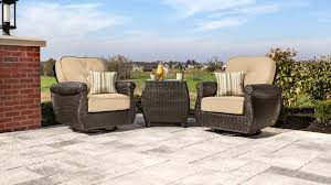 Wood Cavallo 3 Piece Outdoor Bistro Set With Gray Cushions  World Three Piece Outdoor Furniture