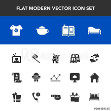 Modern Simple Vector Icon Set With Paper Spacecraft Graph