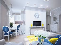 blue and yellow home decor