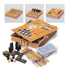 Wooden Games Compendium Classic Games Compendium Wooden Box Chess Draughts Dominoes 43