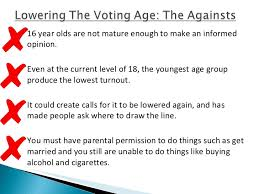 voting age should not be lowered essay argumentative essay should the voting age be lowered to thirteen