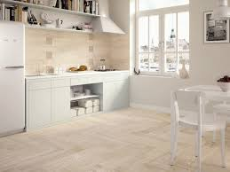 Tile Flooring In Kitchen Wood Look Tile Light Wooden Tiled Kitchen Splashback And Floor