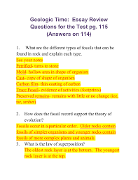 geologic time essay review questions for the test pg