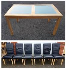 solid wood frosted glass table 6 black real leather chairs free delivery harvey norman oak coffee