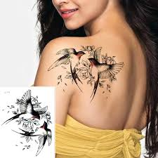 Big Flower Arm Tattoo Temporary Tattoo Sticker Sparrowmagpie Fake Tatoo Sleeve Flash Tatto Waterproof Body Art Women Sexy Girls