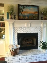 herringbone pattern subway tile fireplace hearth and surround update
