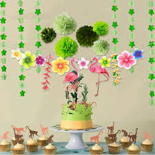 Paper Flower Garland Us 8 99 Tropical Flamingo Banner Decoration Paper Flower Garland Pompom Bunting Birthday Baby Shower Green Sets Summer Party Diy Decor In Party Diy