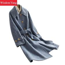 and winter warm coat blue real sheep wool coats womens korean long sleeve slim oversize woolen coat office las overcoat outerwear whl2