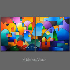 custom original geometric abstract acrylic painting commission inches two inch paintings urbanity vista diptych painting