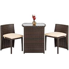 space saving patio furniture. Best Choice Products 3-Piece Wicker Bistro Set W/Glass Top Table, 2 Space Saving Patio Furniture D