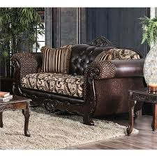 furniture of america elly faux leather loveseat in dark brown idf 6416 lv
