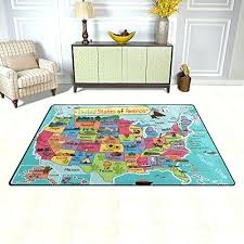 education educational area rug map in cartoon style polyester usa classroom mat for living dining dorm