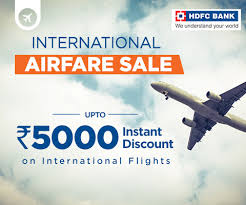 Spend ₹7500 to ₹15000 on flight bookings and get a flat discount of ₹1000. Hdfc Card Sale