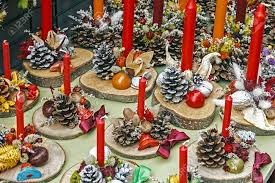 Pine Cone Candles Christmas Decorations With Pine Cones Wood Candles And Various