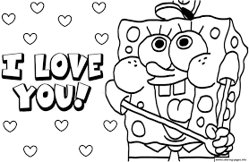 Small Picture sponge bob i love you Valentine day Coloring pages Printable