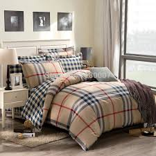 british style mutil tones checked bedding set khaki stripes revesible duvet cover king queen size flat