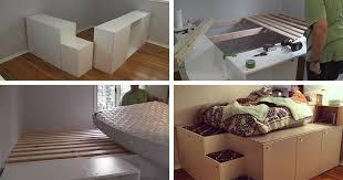 ikea platform bed with storage. Wonderful Platform Watch This Guy Transform IKEA Kitchen Cabinets Into A Platform Bed With  Storage In Ikea Platform Bed With Storage K