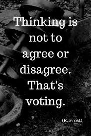"Voting Quotes Best Thinking Is Not To Agree Or Disagree That's Voting"" R Frost"
