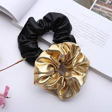 women pu faux leather elastic hair ties girls hairband rope ponytail holder scrunchie gold black headbands accessories 2018 hair jewelry jewelry headband