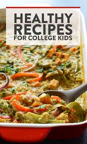 curry cerole with copy that says healthy recipes for college