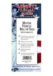 Legal Forms Kit - Motor Vehicle Bill Of Sale With Reference Guide