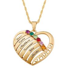 Engraved <b>Heart Pendant</b> Family Birthstone Necklace for Moms in ...