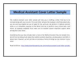 Cover Letter Medical Assistant Entry Level Free Sample Medical Assistant Cover Letter Will Give The Employer A
