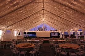 ceiling of lights in a frame tent