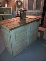 kitchen island made from old door