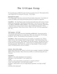 essay critique examples template essay critique examples
