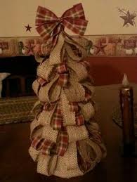Burlap Christmas Tree No tutorial for this tree but you could use any  ribbon tree tutorial. I love the plaid and burlap!