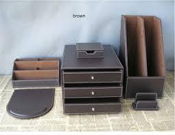 6pcs set pu leather desk accessories desk organizer set file holder 3 drawer cabinet