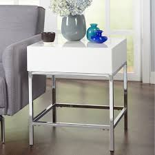 simple living white metal highgloss end table white end table e58