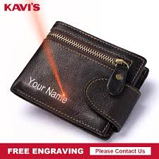 KAVIS Free Engraving Genuine Cowhide Leather <b>Men</b> Wallet <b>Male</b> ...