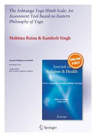 Pdf The Ashtanga Yoga Hindi Scale An Assessment Tool Based On