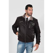 men s dark brown laser perforated genuine fur lining real leather jacket
