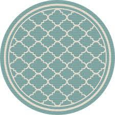 8 round aqua moroccan tile indoor outdoor rug garden city rc willey furniture