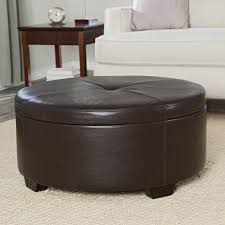 table round coffee table ottoman storage brown leather target with