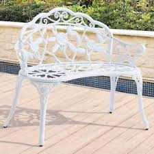 white metal outdoor furniture. Image Is Loading White-Metal-Garden-Bench-Shabby-Patio-Loveseat-Outdoor- White Metal Outdoor Furniture