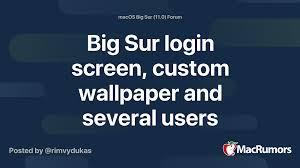 Big Sur login screen, custom wallpaper ...