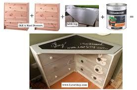 two IKEA Rast dressers & a chalkboard paint/corner desk top = corner desk  www