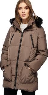 taupe faux fur trim hood padded coat follow maine new england follow debenhams