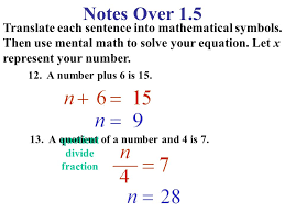 notes over 1 5 translate each sentence into mathematical symbols then use mental math to solve