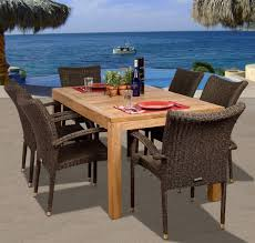 ia teak brussels 7 piece teak outdoor dining set with stackable wicker chairs