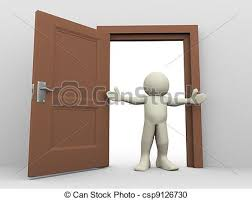 open front door clipart. 3d man and open door - render of in front open. clipart d