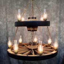 Wagon Wheel Chandelier With 11 Chimney Lights In Addition To Interesting Wagon  Wheel Chandelier (View