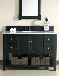 abstron 48 inch black finish single transitional bathroom vanity white marble top